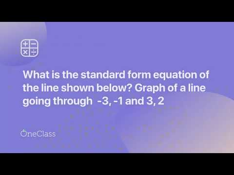 What Is The Standard Form Equation Of The Line Shown Below Youtube