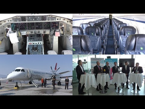 SkyWork Airlines Presentation at Graz Airport   Saab 2000 walk through and press conference