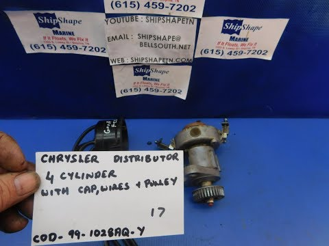 FOR SALE - Chrysler Marine Distributor, 4 Cylinder with Cap, Wires, and Pulley $99.95