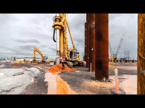 Inner boring inside driven steel tube piles, LNG plant, NT