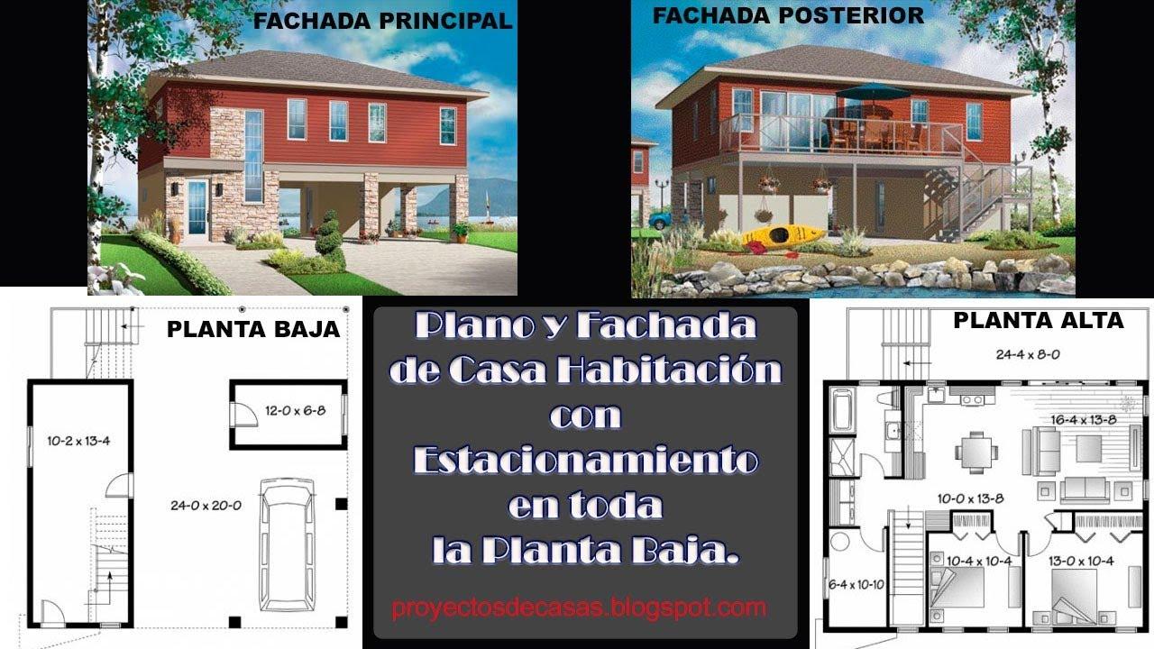 Planos y fachadas de casa habitaci n con estacionamiento for Planos y fachadas de casas de una planta