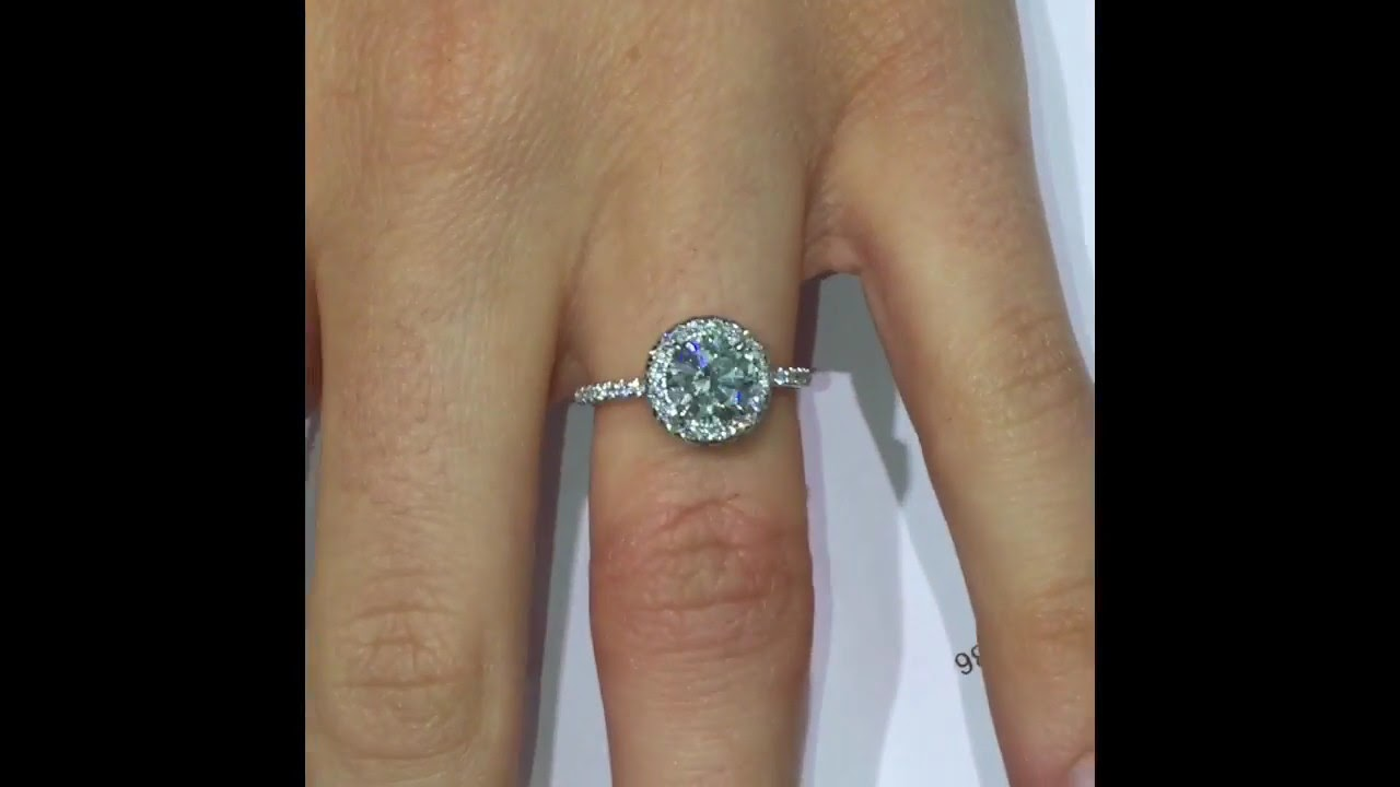1 ct Round Diamond Halo Engagement Ring - YouTube f8d7739c6214