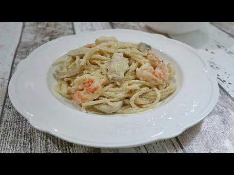 Filipino Style Chicken And Shrimp Alfredo | Food Bae