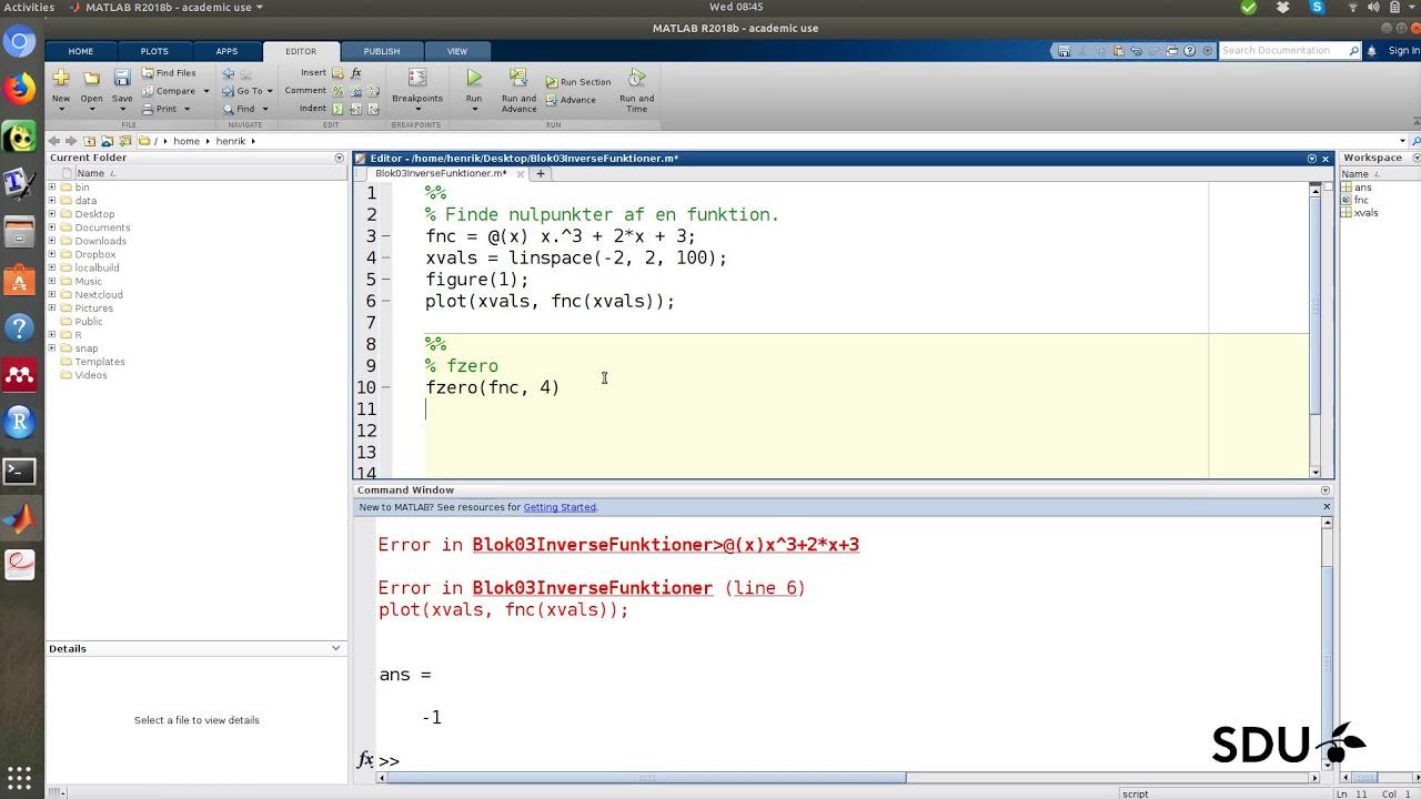 Inverse funktioner - matlab eksempler