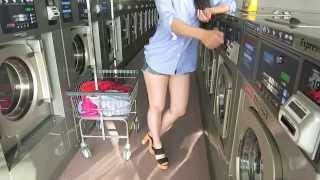Sexy Girl Doing Laundry in High Heels at Laundromat