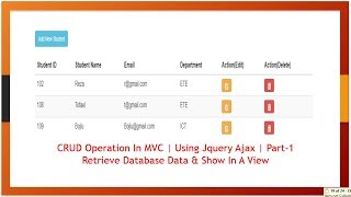 CRUD Operations In MVC | Using Jquery Ajax | Part-1 Retrieve Database Data & Show In A View