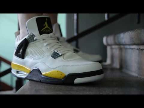 becc8b1b6934 2006 Air Jordan 4 (IV) Retro LS   Tour Yellow   on feet womft - YouTube