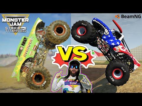Monster Jam Steel Titans 2 and BeamNG Drive INSANE Backflips |
