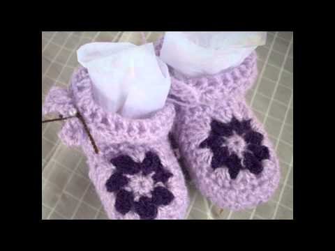 Crochet Tutorial Zapatitos Escarpines : Escarpines y zapatitos para bebe a crochet.(Bottes ou chaussures ...
