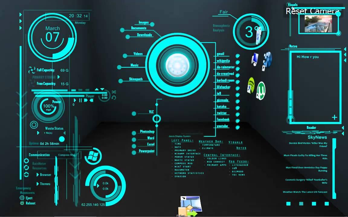 3d Hologram Wallpaper Gif My J A R V I S Desktop Youtube