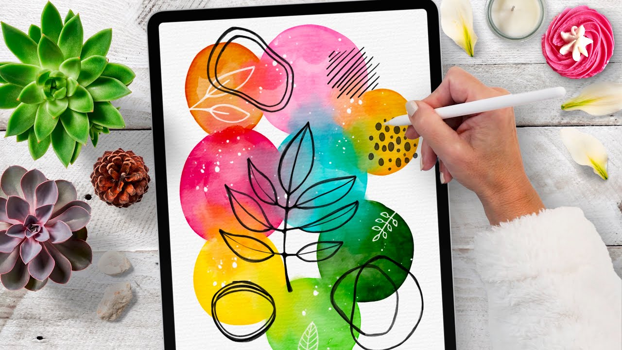 iPad Watercolor Doodles - super relaxing Procreate Tutorial 🥰