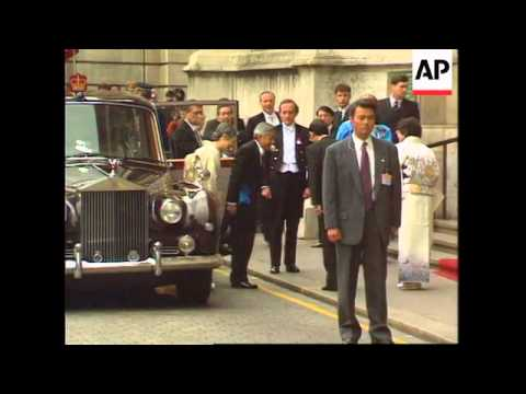 UK: LONDON: JAPANESE EMPEROR AKIHITO VISIT ENDS WITH BANQUET