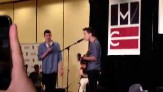 Shawn Mendes and Jacob Whitesides singing Lego House by Ed Sheeran at Magcon SF on Feb. 16, 2014.