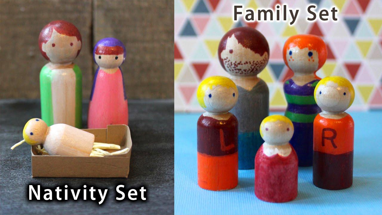 How To Make Diy Wooden Peg Dolls Nativity Scene Or Family Set