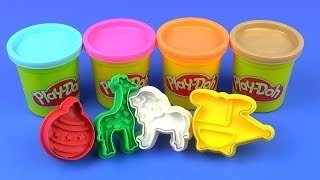 Learn Colors Play Doh Modeling Clay Zoo Animals Transport Vehicles Christmas Ball Cookie Cutters