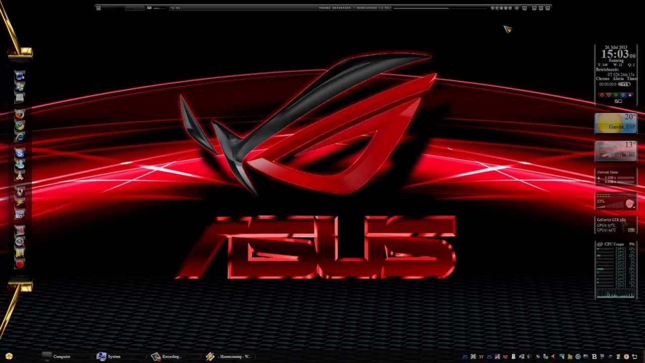 Msi Wallpaper Full Hd Windows 7 Theme Asus Rog Made By Chris Tiger Watch In Hd