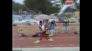 Javelin throw world record 98.48m Jan Zelezny - normal and slow motion