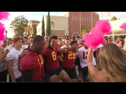 Go inside a Jock Rally as USC football, Spirit of Troy get ready for clash with Colorado