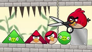 Angry Birds Pigs Out - RESCUE TRIANGLE AND ROUND BIRDS FROM PIGGIES BY CUTTING ROPE!