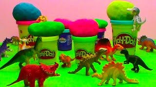 Dinosaurs toys Play Doh surprise balls unboxing toys