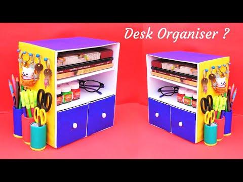 DIY Desk Organizer with waste cardboard box   Best out of waste   Space saving craft idea