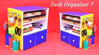DIY Desk Organizer with waste cardboard box | Best out of waste | Space saving craft idea