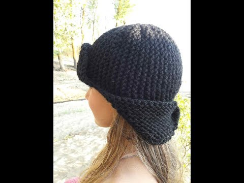 Вязаные шапки ушанки женские крючком