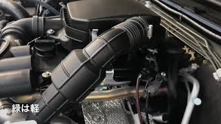 ジムニー新型 軽とシエラ エンジンルームの比較   違いは何処だ? 整備用に中を覗き込んだ