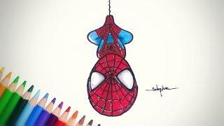 สอนวาดรูป ระบายสี   สไปเดอร์แมน อเวนเจอร์  (จิบิ) How to draw cartoons   Spider man chibi