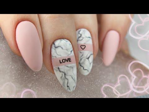 Дизайн ногтей на День Влюбленных / Мраморный маникюр / Нежный маникюр / Текстура камня на ногтях