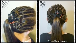 Halloween Hairstyles - Tangled Weave Spider Web Ponytail