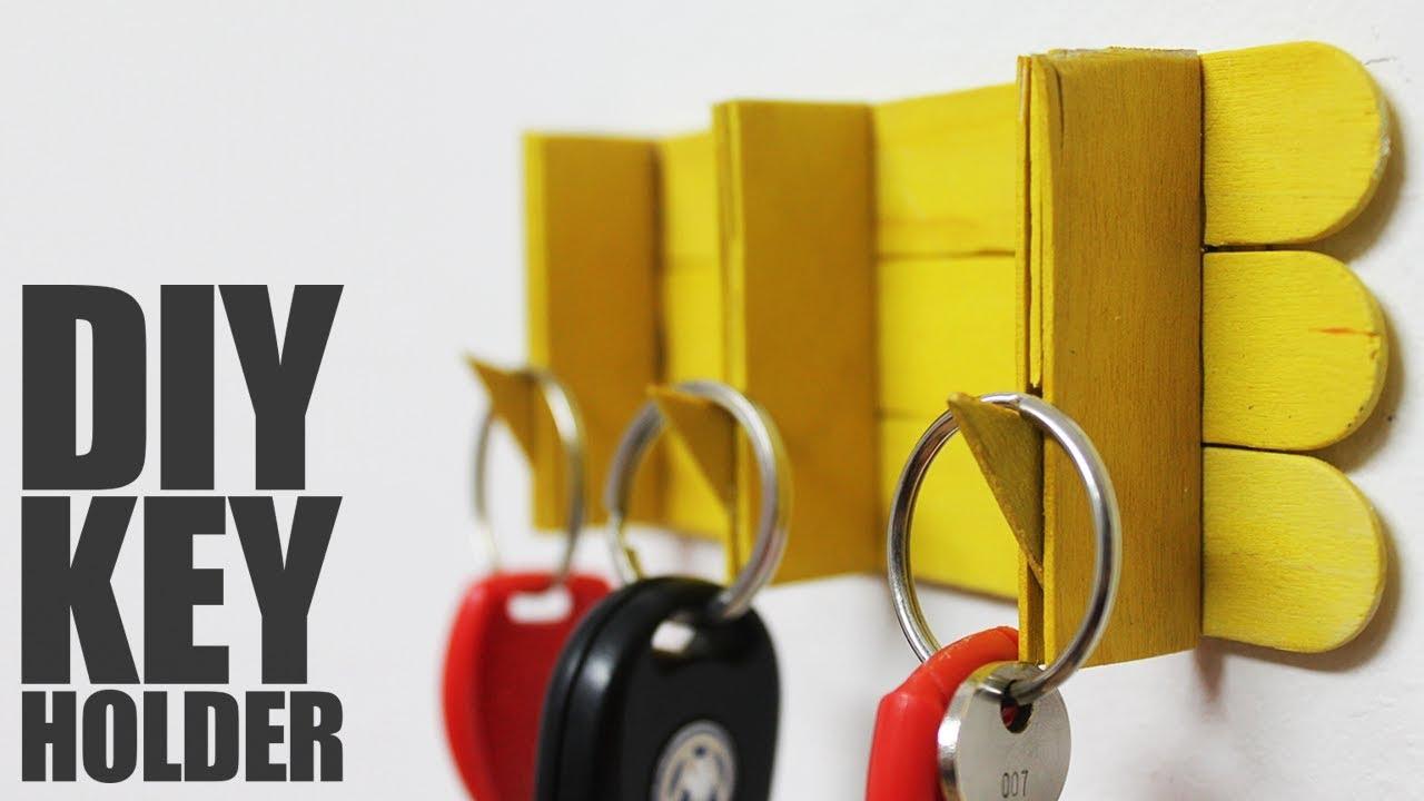 How to make key holder with popsicle sticks - DIY Key Holder - YouTube