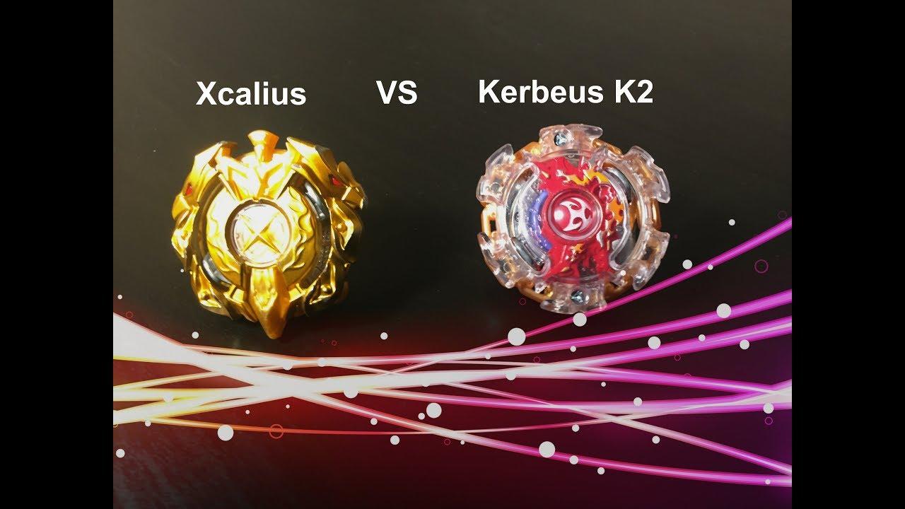 Beyblade Burst Battle Xcalius Vs Kerbeus K2 - YouTube