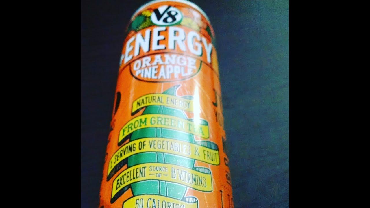 V8 Energy Review >> V8 Energy Orange Pineapple Drink Review Youtube