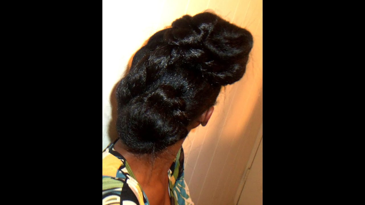 twisted updo hairstyle relaxed