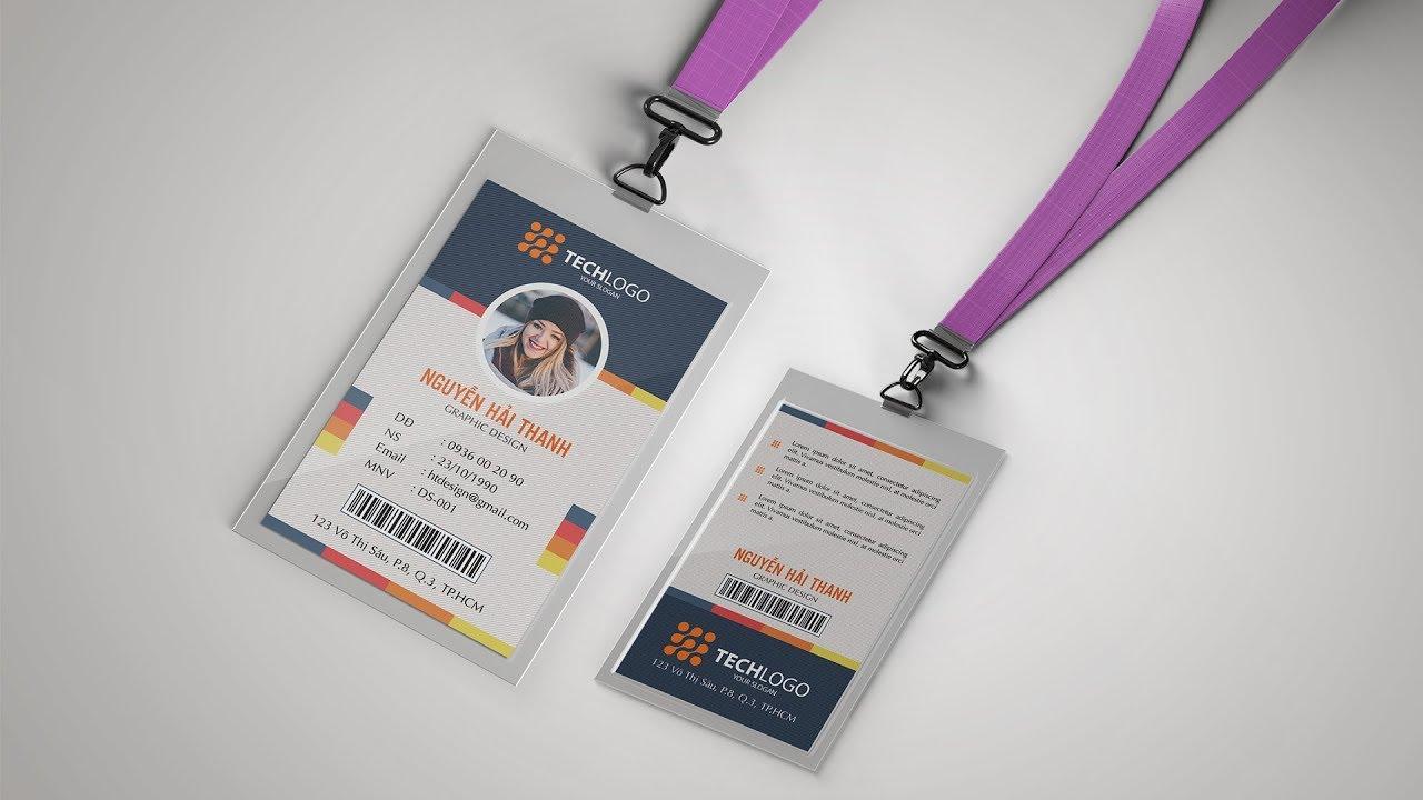 Id Card Design | Hướng dẫn thiết kế thẻ đeo nhân viên bằng photoshop | haithanhdesign