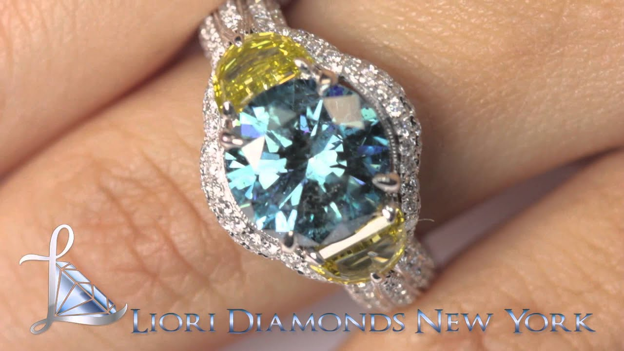 FD 631 5 82 Carat Fancy Yellow & Blue Diamond Engagement Ring