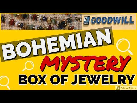BOHEMIAN MYSTERY JEWELRY BOX UNBOXING   17 POUND GOODWILL BOHO Opening Unjarring GEMSTONES SILVER