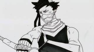 HOW TO DRAW ZABUZA MOMOCHI 桃地再不斬