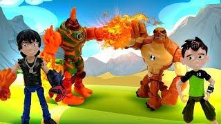 Видео про игрушки из мультфильмов. Бен Тен и его Новые трансформации. Расти Механик и робот динозавр