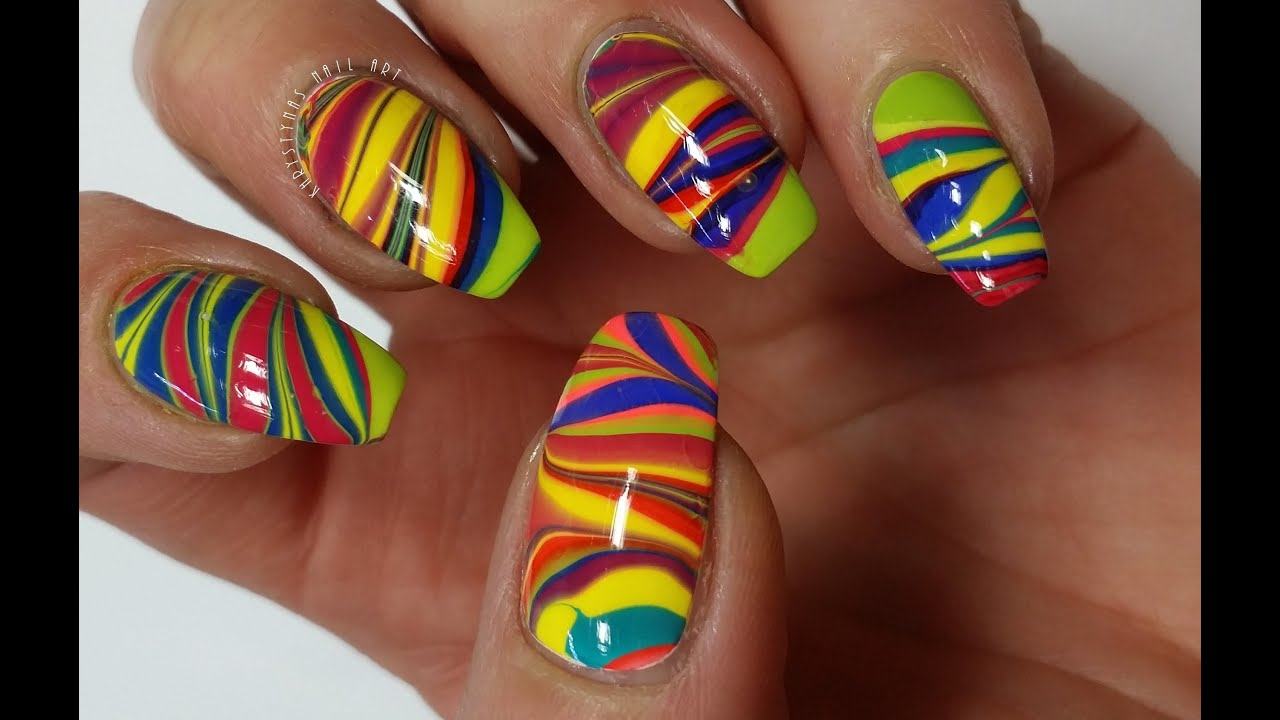 Rainbow water marble nail art tutorial khrystynas nail art youtube prinsesfo Image collections