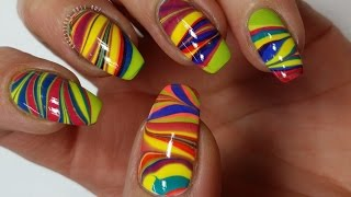 Rainbow Water Marble Nail Art Tutorial (Khrystynas Nail Art)