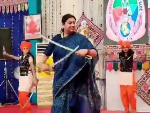 Smriti Irani joins sword dance in Bhavnagar, Gujarat