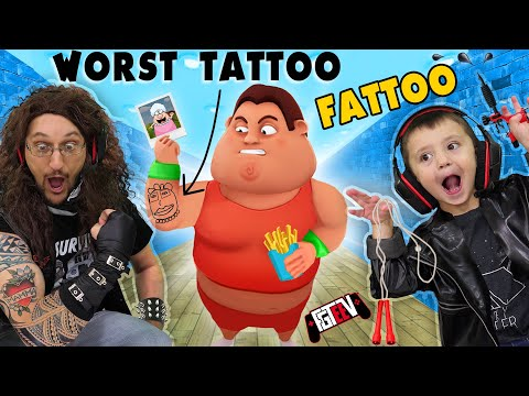 FAT DUDES & TATTOOS!!  I LOST 350lbs In Under 20 Minutes (FGTeeV INK INC. + Fit The Fat)