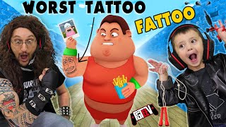 fat-dudes-tattoos-lost-350lbs-20-minutes-fgteev-ink-fit-fat