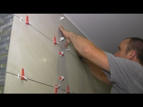 How to install large format tiles on bathroom walls using Pe