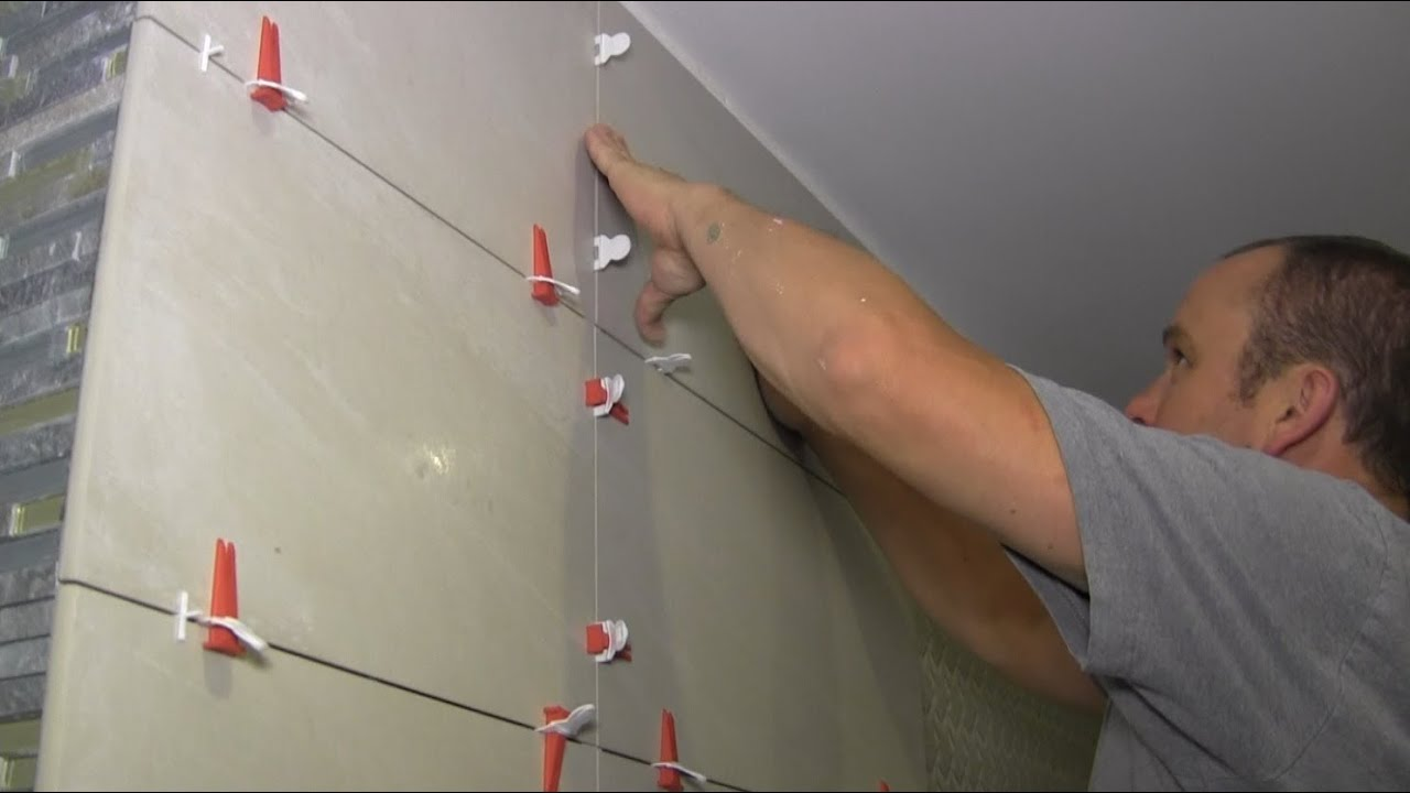 How to fit bathroom tiles - How To Install Large Format Tiles On Bathroom Walls Using Perfect Level Master Youtube