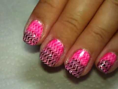 Pink Waves Nail Art Tutorial