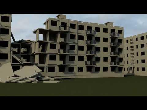 Разрушение дома со звуком. Blender 3D