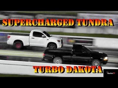 New Tundra Record - Supercharged TRD Tundra v Turbo Dakota - 1/4 Mile Drag Race - Road Test TV ®